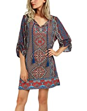 Urban CoCo Women Bohemian Neck Tie Vintage Printed Ethnic Style Summer Shift Dress