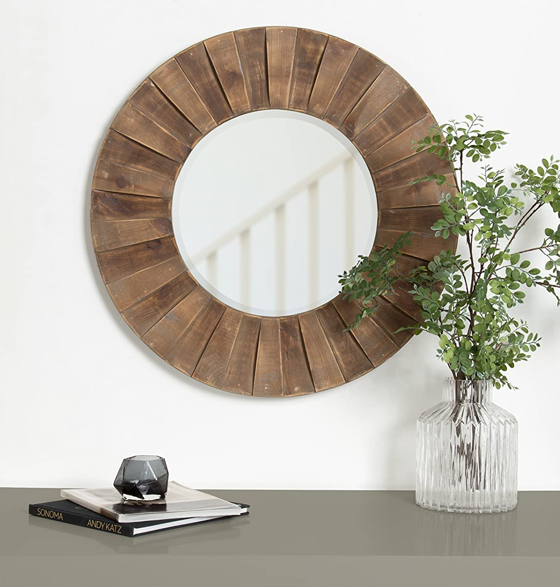 Kate and Laurel Monteiro Round Decorative Sunburst Natural Wood Frame Wall Mirror, 30 Inch Diameter