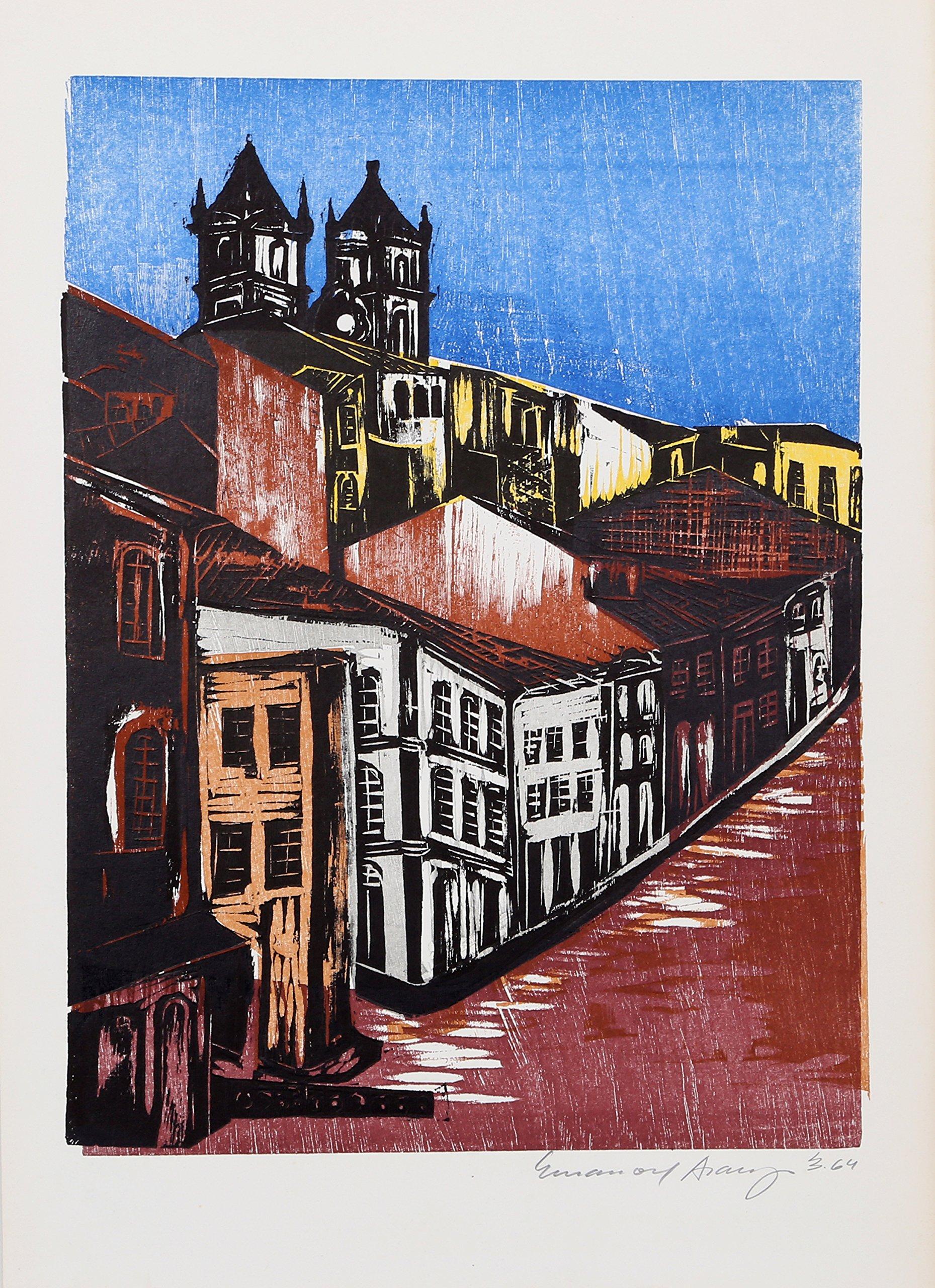 Street Scene with Church II from the Bahia Portfolio by