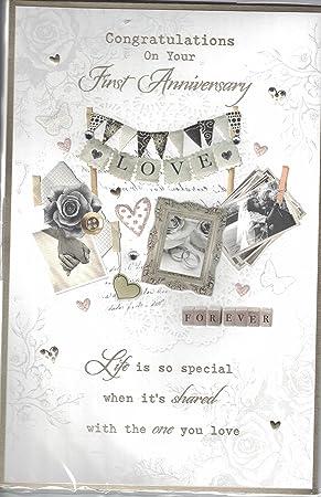 1st wedding anniversary card congratulations on your first 1st wedding anniversary card congratulations on your first anniversary shabby chic 3d pop m4hsunfo
