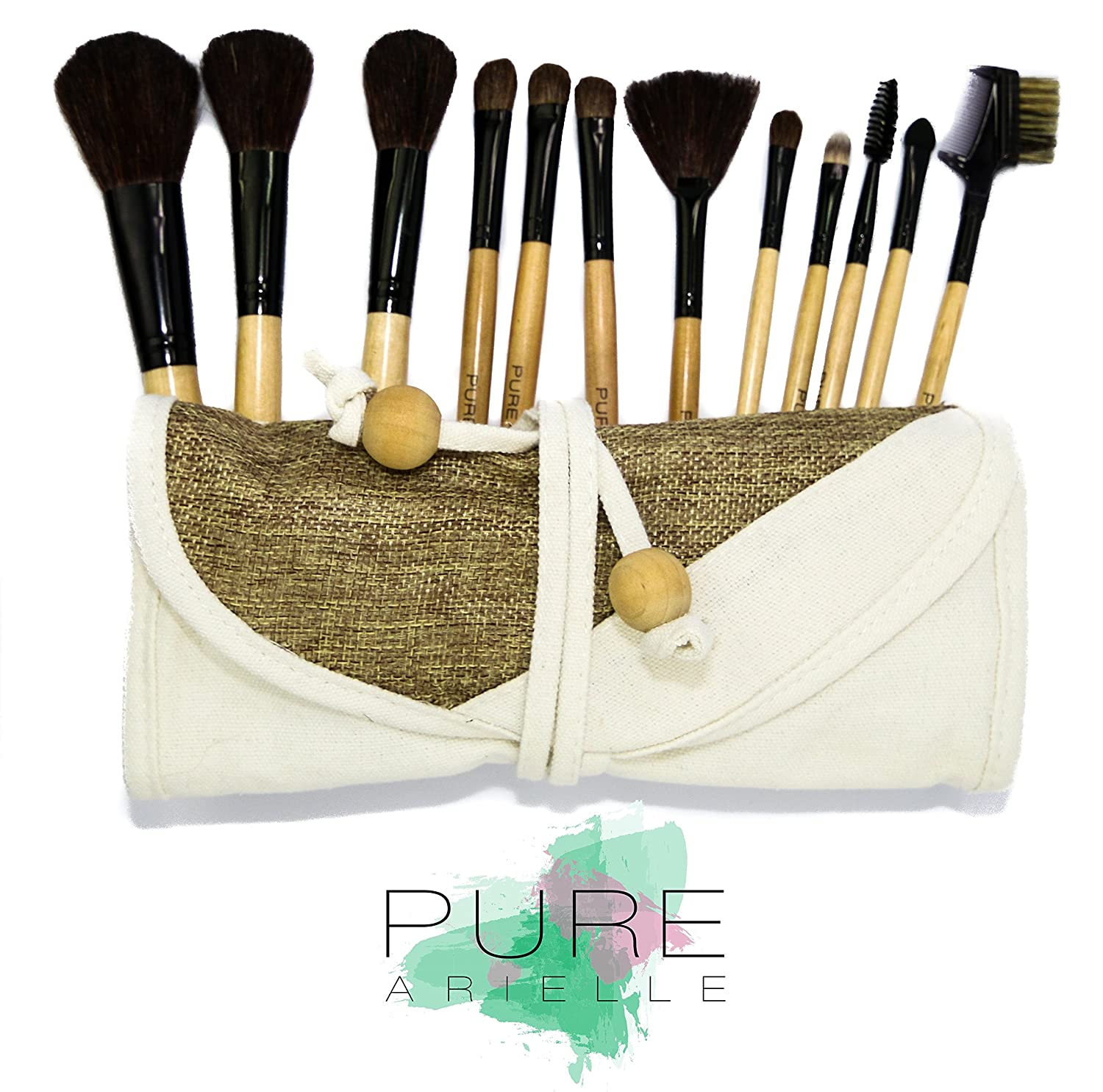 amazon com pure arielle 12 piece all natural makeup brush set amazon com pure arielle 12 piece all natural makeup brush set bamboo handle pcs stylish make up brushes set includes free cloth organizer case bag