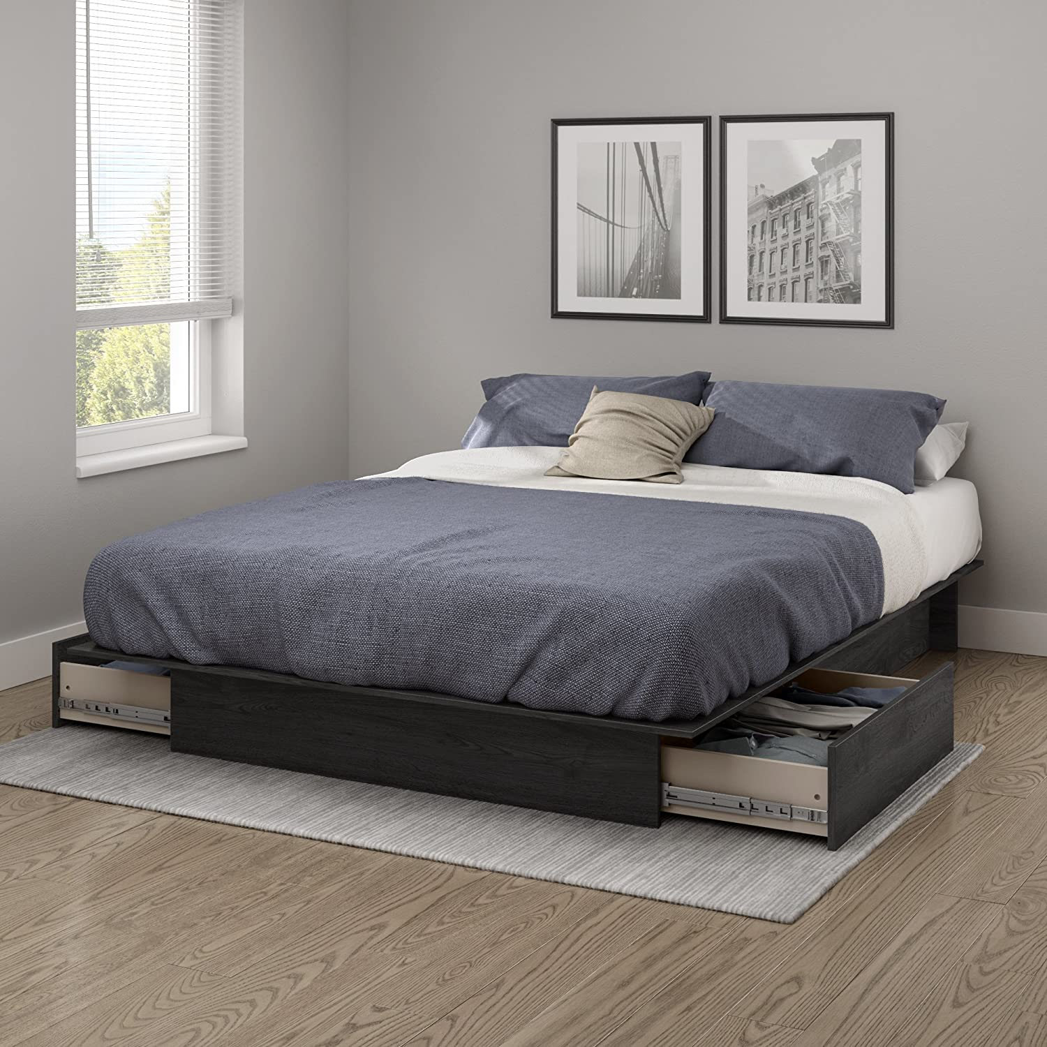 Queen platform bed frame - Amazon Com South Shore Step One Platform Bed With Drawers Full Queen Gray Oak Kitchen Dining