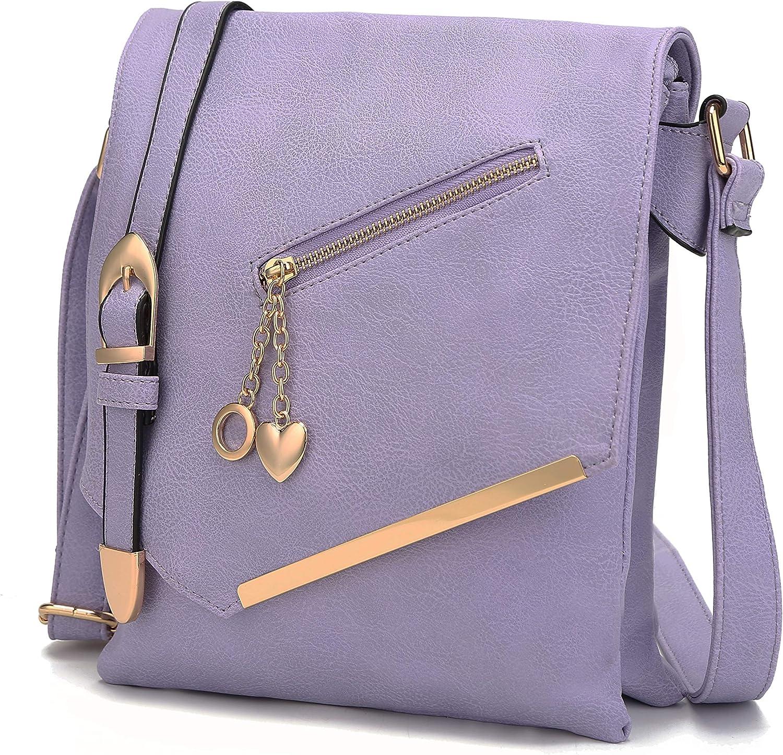 Mia K Collection Crossbody Bag for Women – Shoulder Strap – PU Leather Handbag Medium Ladies Messenger Side Purse