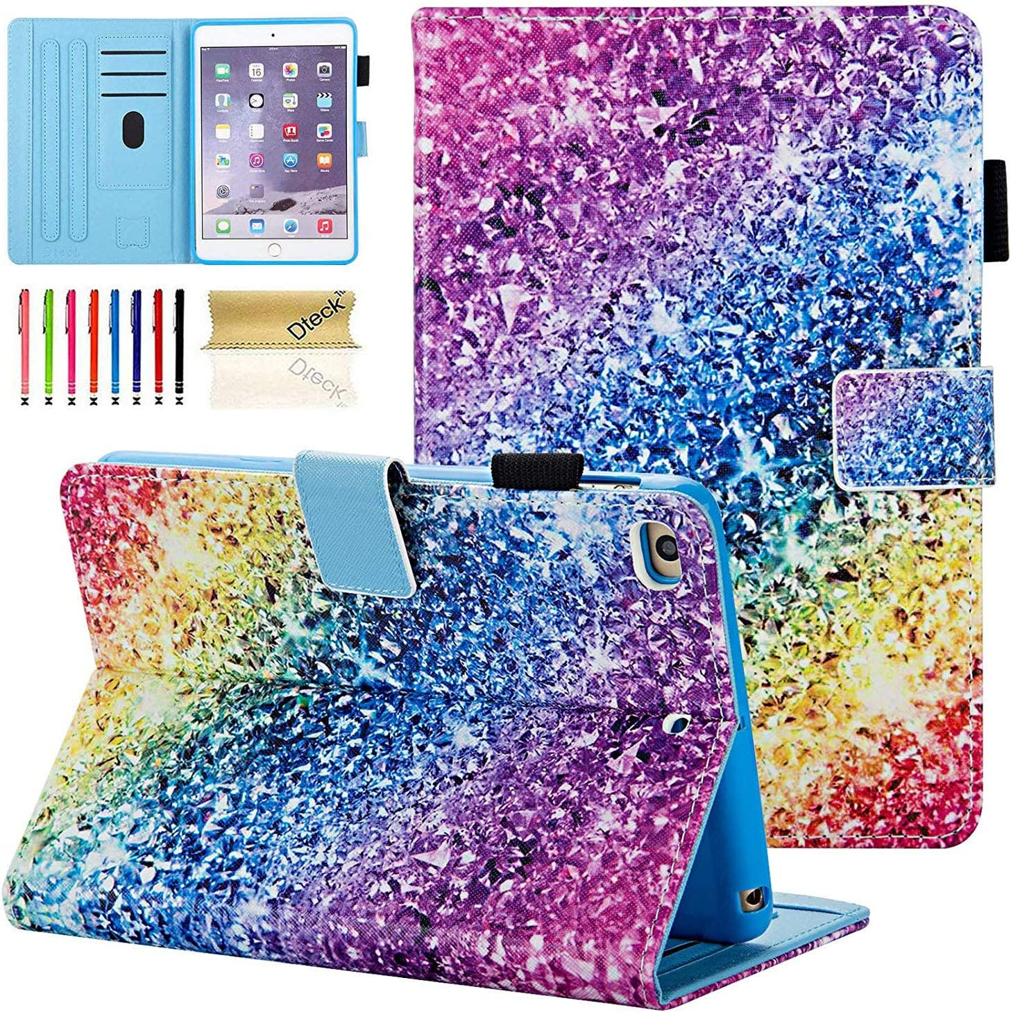 iPad Mini Case, Mini 2 3 4 5 Case, Dteck Slim Multi-Angle View Stand PU Leather Magnetic Case with Auto Wake/Sleep Smart Cover for Apple iPad Mini 1/2/3/4/5, Colorful Sand