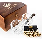 Diamond Cut Whiskey Stones Gift Set in Vintage Wood Box - 2 Large 11oz Drinking Glasses + 8 Gold Stainless Steel Chilling Rocks | Reusable Ice Cube Cool Drinks Without Diluting | Gift for Men or Women