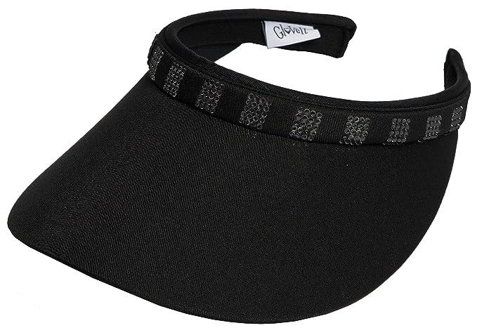 Amazon.com   GloveIt Women s Clip On Visor - Golf   Tennis Head Visors for  Women - UV 50 Protection - Ladies Sun Visor Hat - Large Wide Brim - Black  Bling ... 1cb68a1719a
