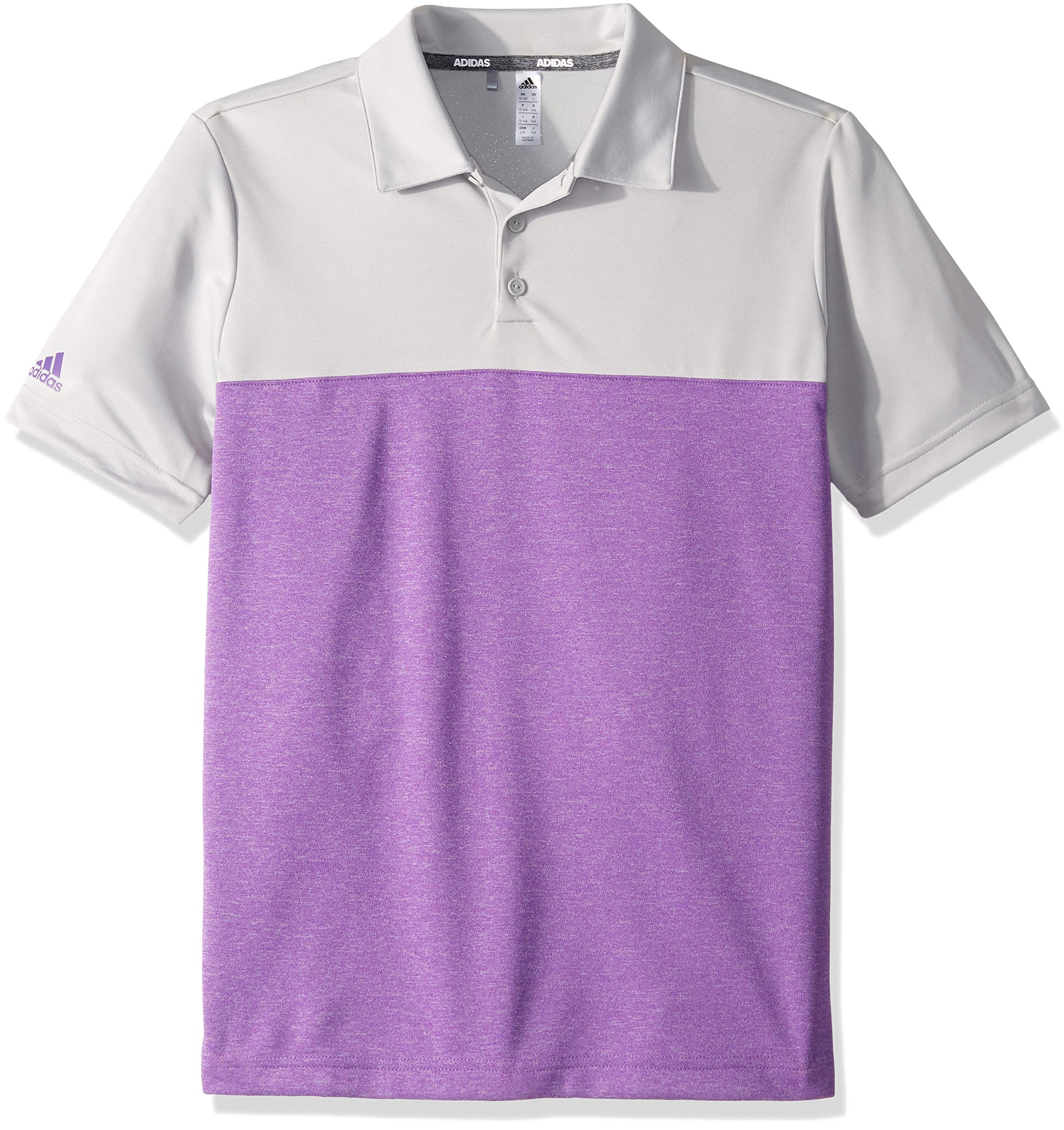 adidas Golf Heathered Color Blocked Polo, Grey Two/Active Purple Heather, Small by adidas