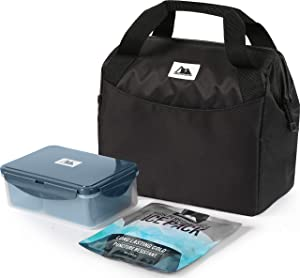 Arctic Zone High Performance Meal Prep Lunch Bag M.D with 6 Piece Printed Leak Proof Bento and 250g High Performance Ice Pack - Black