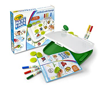 amazon crayola colour wonder mess free art desk with stamps toy