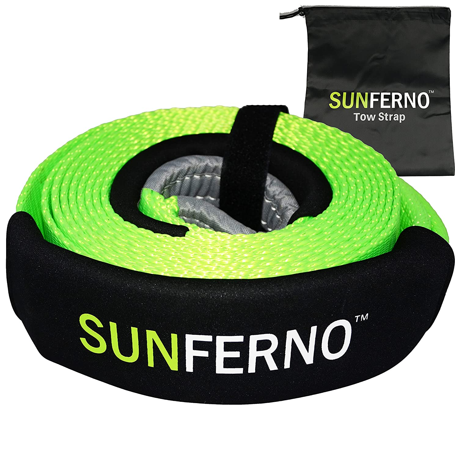 Ultimate Tow Recovery Strap 35000lb - Recover Your Vehicle Stuck in Mud/Snow - Heavy Duty 3' x 20' Winch Snatch Strap - Protective Loops, Water-Resistant - Off Road Truck Accessory - Bonus Storage Bag Sunferno 4332987234