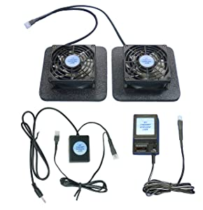 Receiver or Amplifier 12 Volt Trigger-Controlled Cooling Fans (12v) with Enlarged Airchamber Bases & multispeed