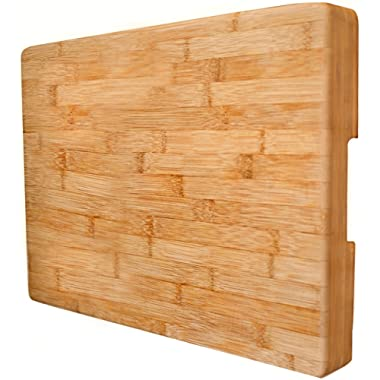 EXTRA LARGE Bamboo Cutting Board Butcher Block By Neet - Thick Heavy & Solid (16.5 x 12  x 2  Inch) Organic Wood Anti-Bacterial Wooden Serving Trays & Cheese Platters Great Chef Kitchen Gift