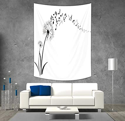 IPrint Polyester Tapestry Wall Hanging,Music Decor,Flying Dandelions With  Note Music Summer Meadow