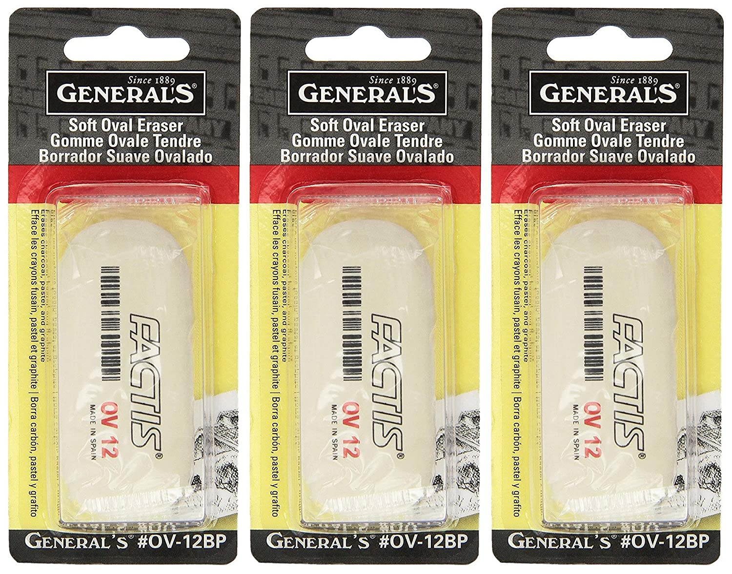 3-Pack - General Pencil Factis Soft Oval Eraser