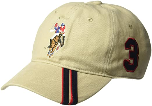 U.S. Polo Assn. Mens Polo Horse Baseball Cap, Diagonal Stripe Applique Visor, Black One Size at Amazon Mens Clothing store: