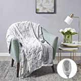 """MP2 Heated Throw Blanket Electric Lap Blanket Faux Fur to Microlight 50"""" x 60"""" with 3 Heating Levels 2 Hours Auto Off Machine Washable UL Certified, EMF Radiation Safe, Marble Blue"""