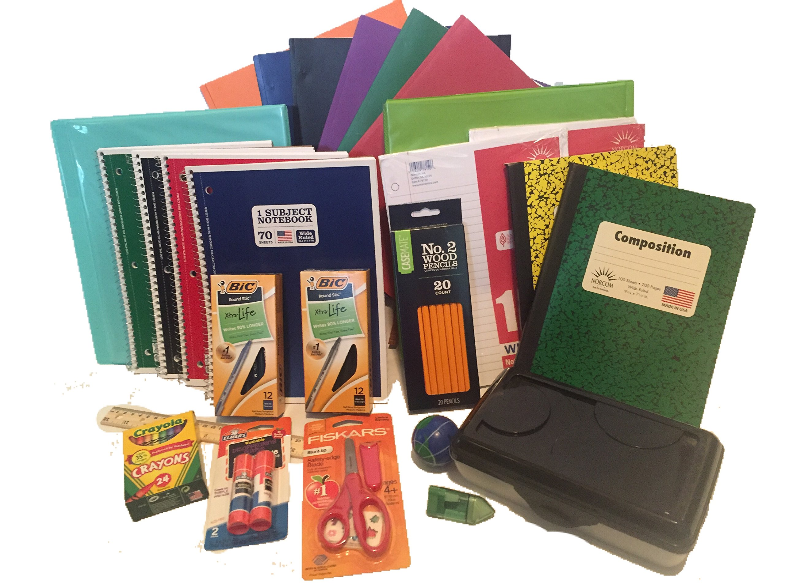 Elementary School Supply Pack - 25 Essential Items for Primary, Elementary or Middle School. Pencils, Paper, Binders, Notebooks, Folders, Crayola Crayons, Glue Sticks and More! 25 piece bundle