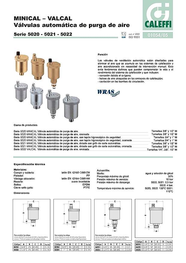 Caleffi 502140 MINICAL Válvula Automática de Purga de Aire 1/2 M con Grifo de Corte Automático: Amazon.es: Hogar