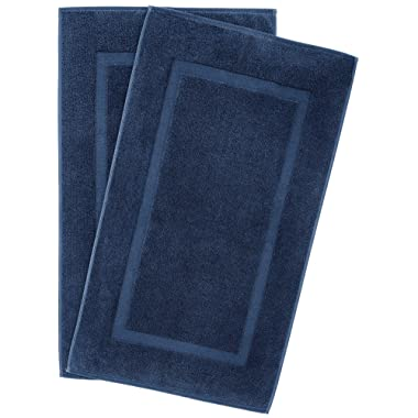 900 GSM Machine Washable 21x34 Inches 2-Pack Banded Bath Mats, Luxury Hotel and Spa Quality, 100% Ring Spun Genuine Cotton, Maximum Softness and Absorbency by United Home Textile, Navy Blue