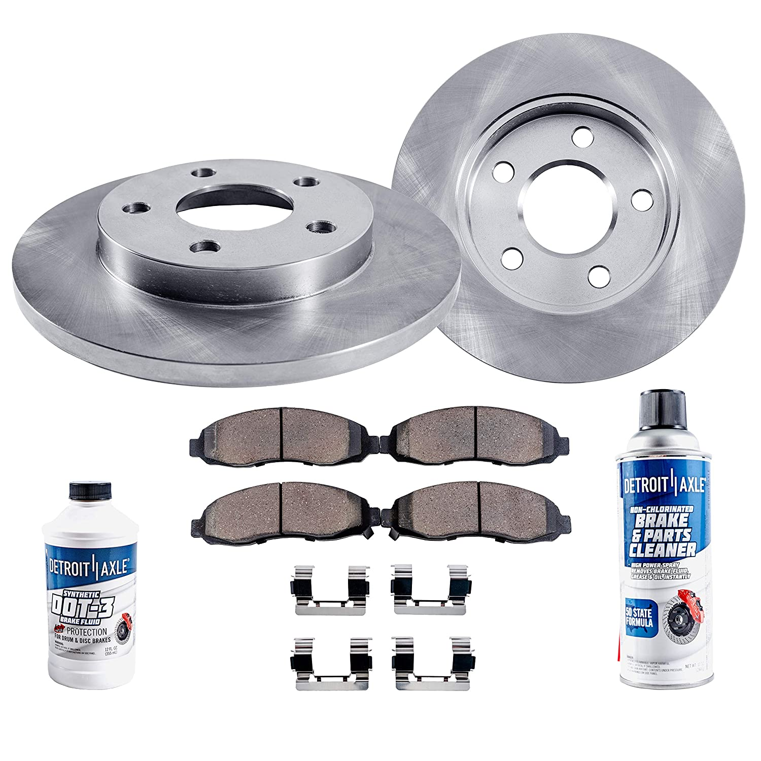 TA053581 Max Brakes Front Elite Brake Kit Fits: 2008 08 2009 09 2010 10 Dodge Grand Caravan E-Coated Slotted Drilled Rotors + Metallic Pads