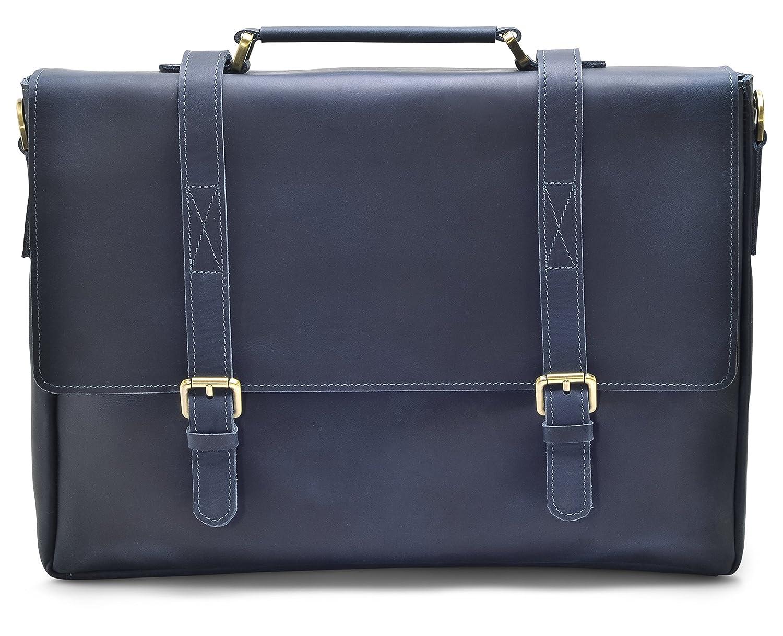 "28670b6cdcf1 Hølssen Men's Leather Messenger Bag (Dark Blue) Crossbody Professional  Satchel Briefcase w/ 15"" Laptop Pocket"