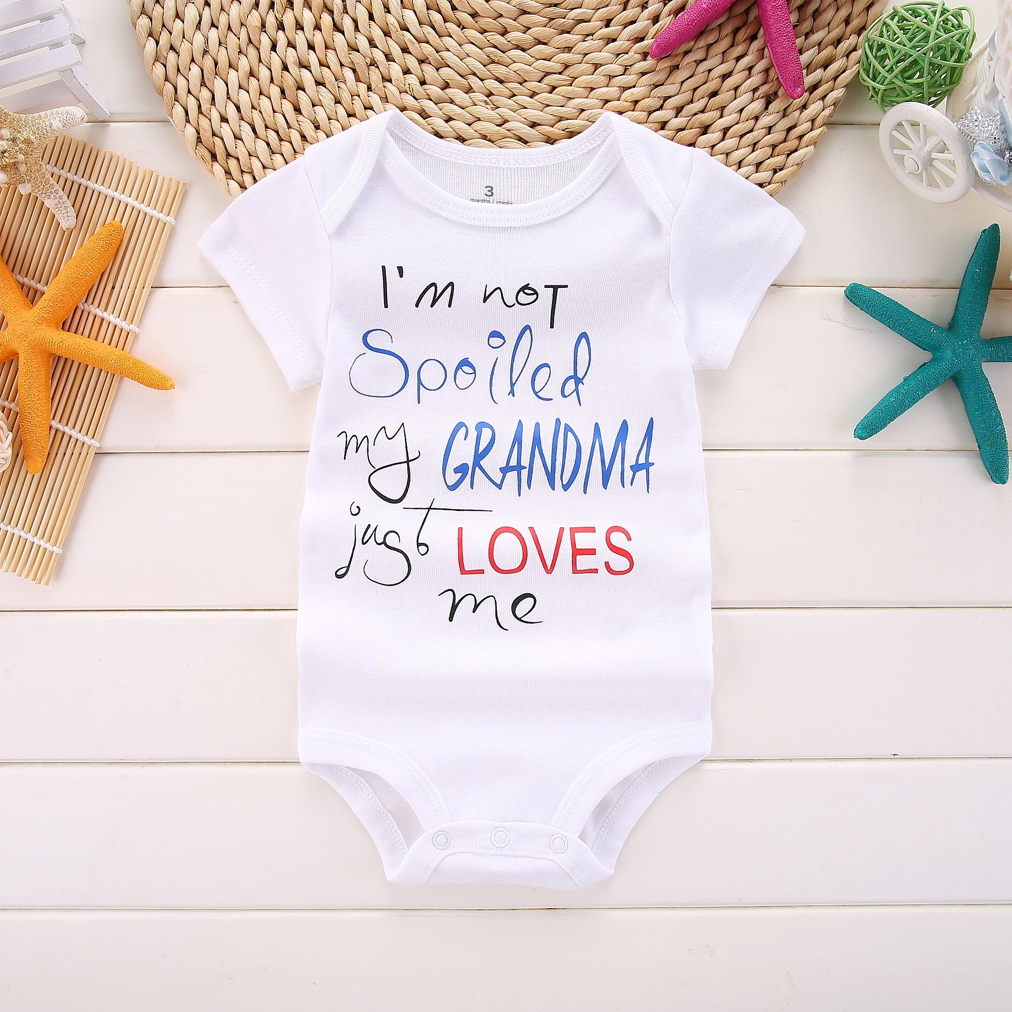 Amberetech Newborn Baby Summer Clothes Romper Outfit I'm Not Spoiled My Grandma Just Loves Me Baby Boys Girls T-Shirt Jumpsuit (White, 0-3 Months) by Amberetech (Image #2)