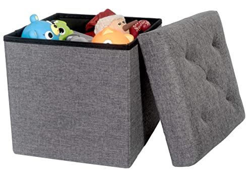 Red Co. Folding Cube Storage Ottoman with Padded Seat, 15 x 15 – Platinum Series, Charcoal