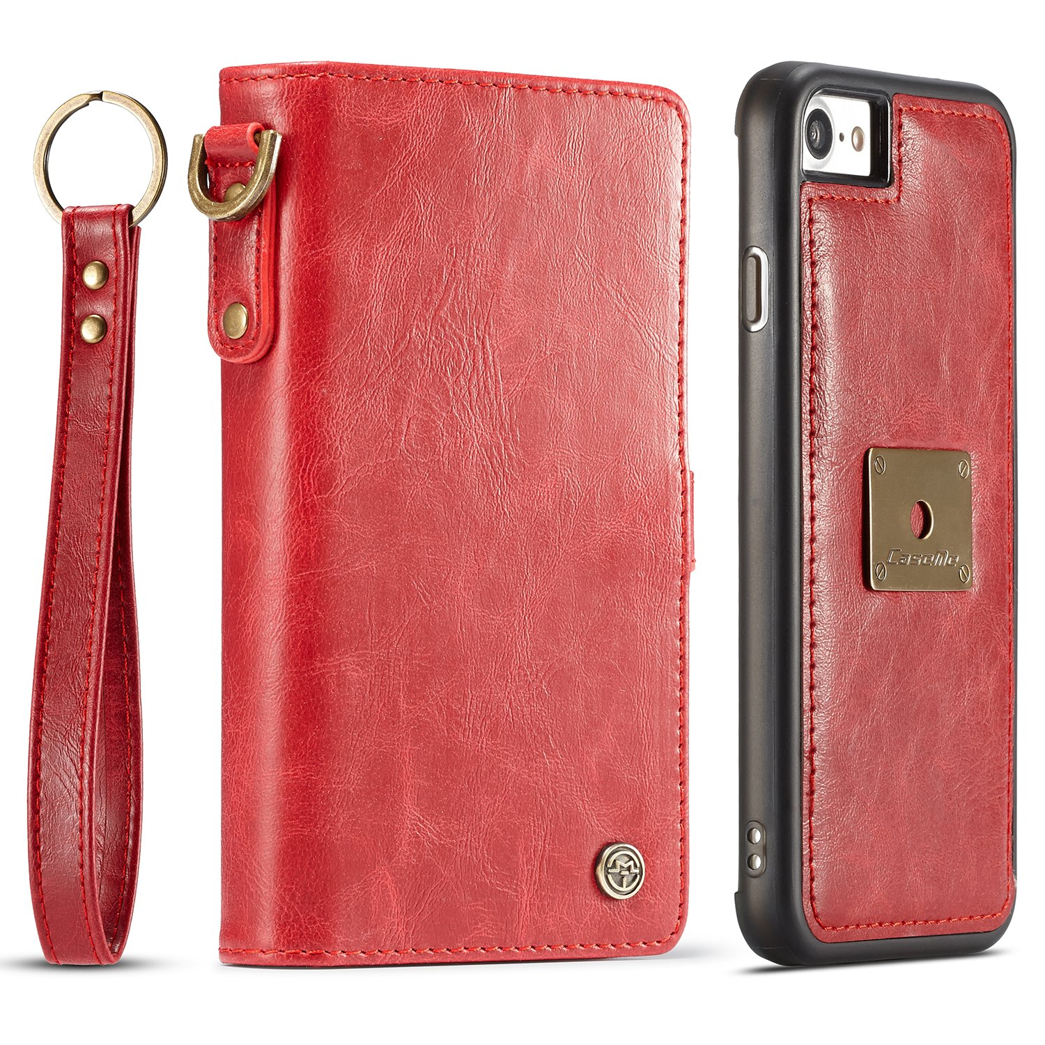 SAVYOU iPhone 7 4.7inch Folio Flip Leather Wallet with Detachable Magnetic Removable Slim Case - Card Slots Hoder Red 4335456105