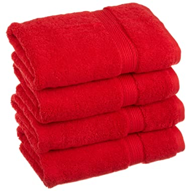Superior 900 GSM Luxury Bathroom Hand Towels, Made of 100% Premium Long-Staple Combed Cotton, Set of 4 Hotel & Spa Quality Hand Towels - Red, 20  x 30  each
