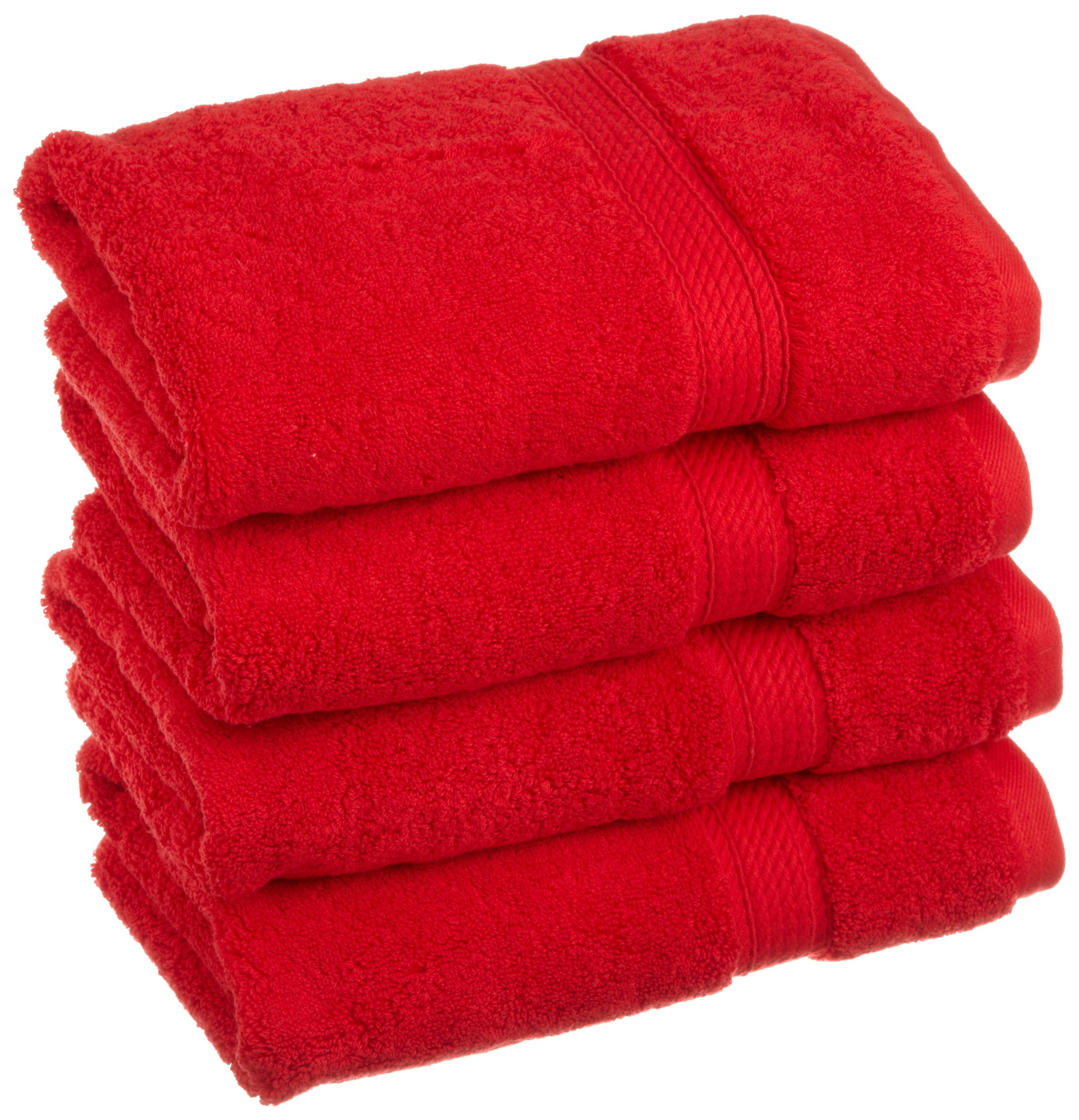 Superior Hand RD 900GSM Towel Set, 4PC, Red