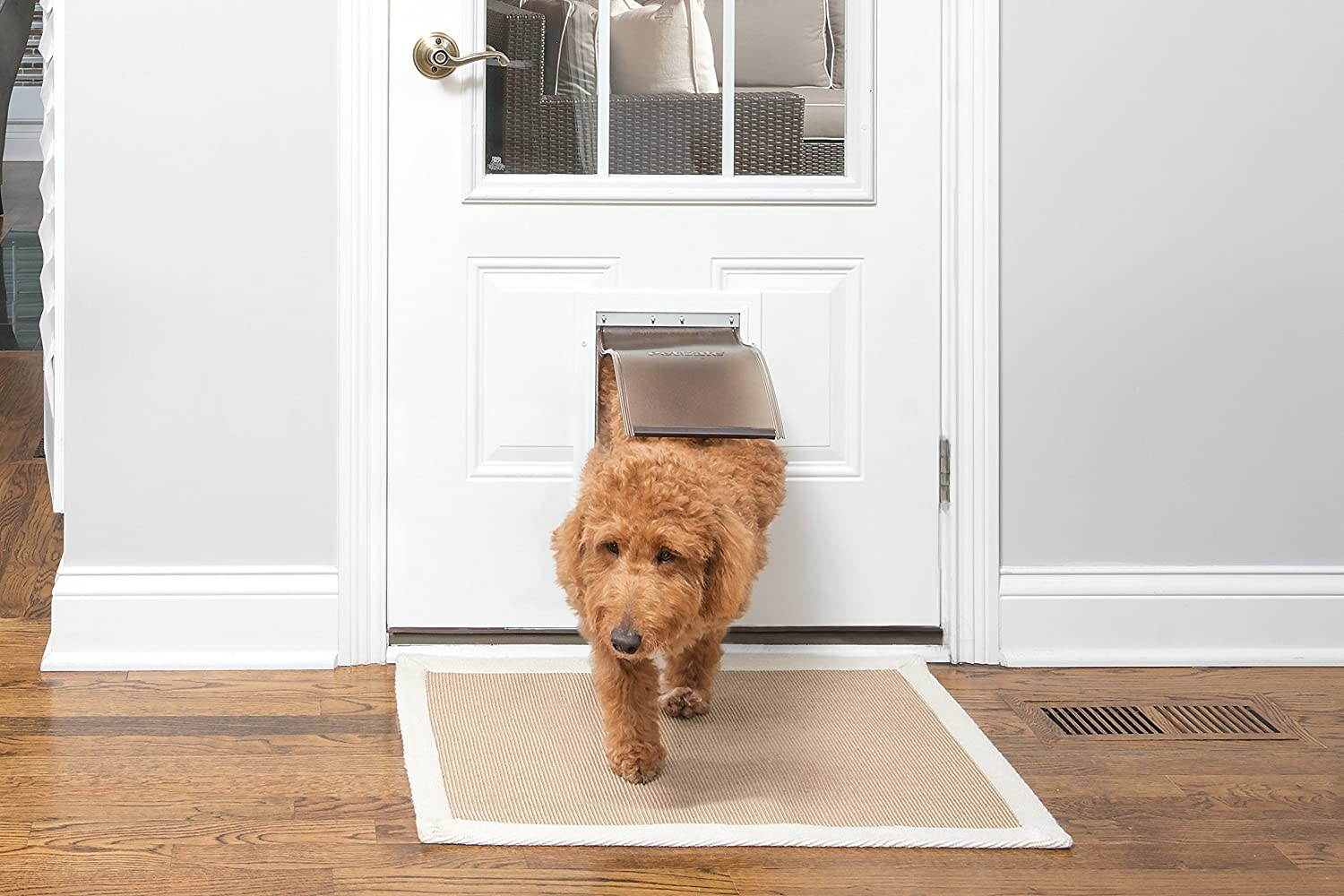 PetSafe Freedom Aluminum Pet Door for Dogs and Cats Tinted Vinyl Flap White