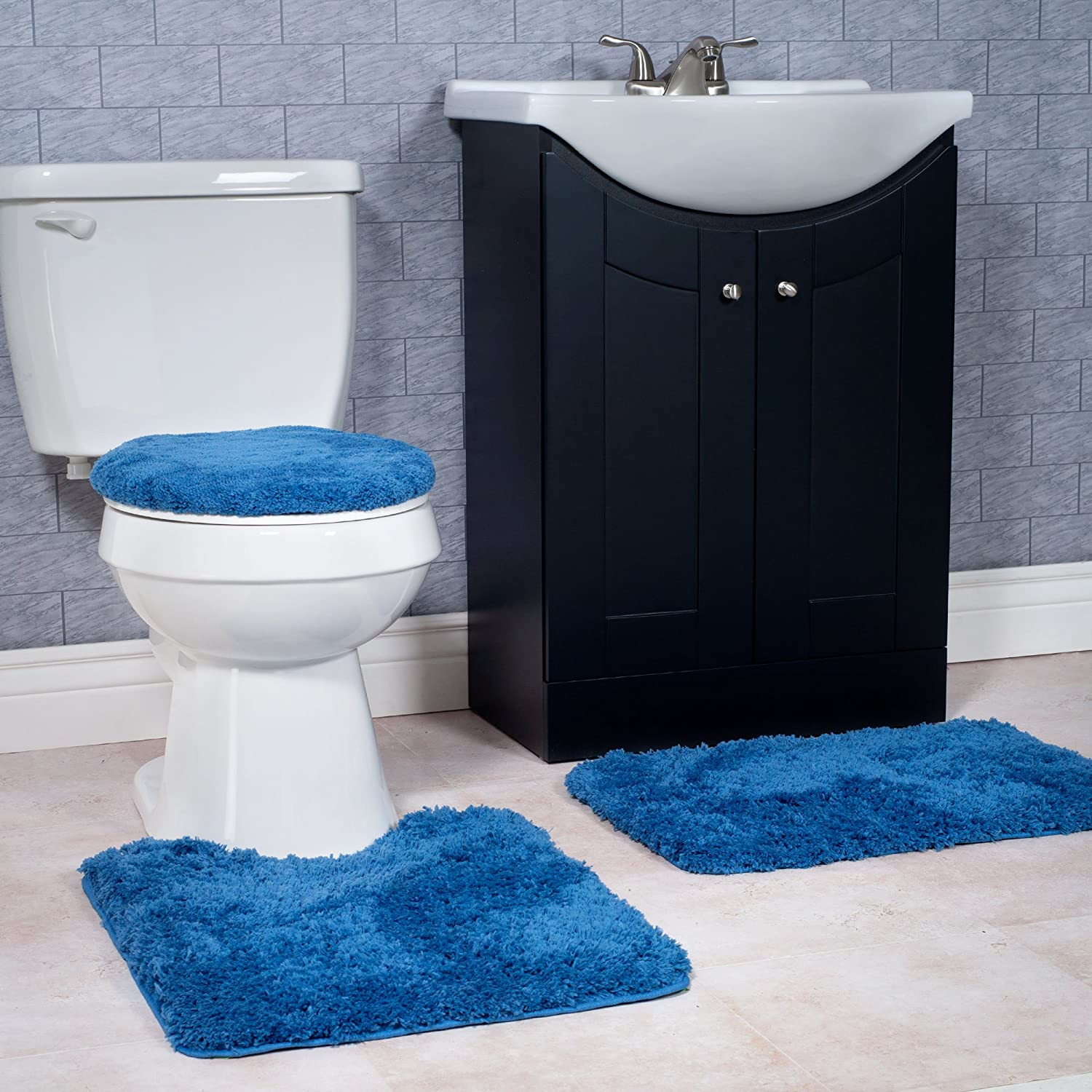 Awe Inspiring Details About 3 Soft Piece Bath Rug Mat Set Blue Navy Non Slip For Bathroom Toilet Seat Cover Machost Co Dining Chair Design Ideas Machostcouk
