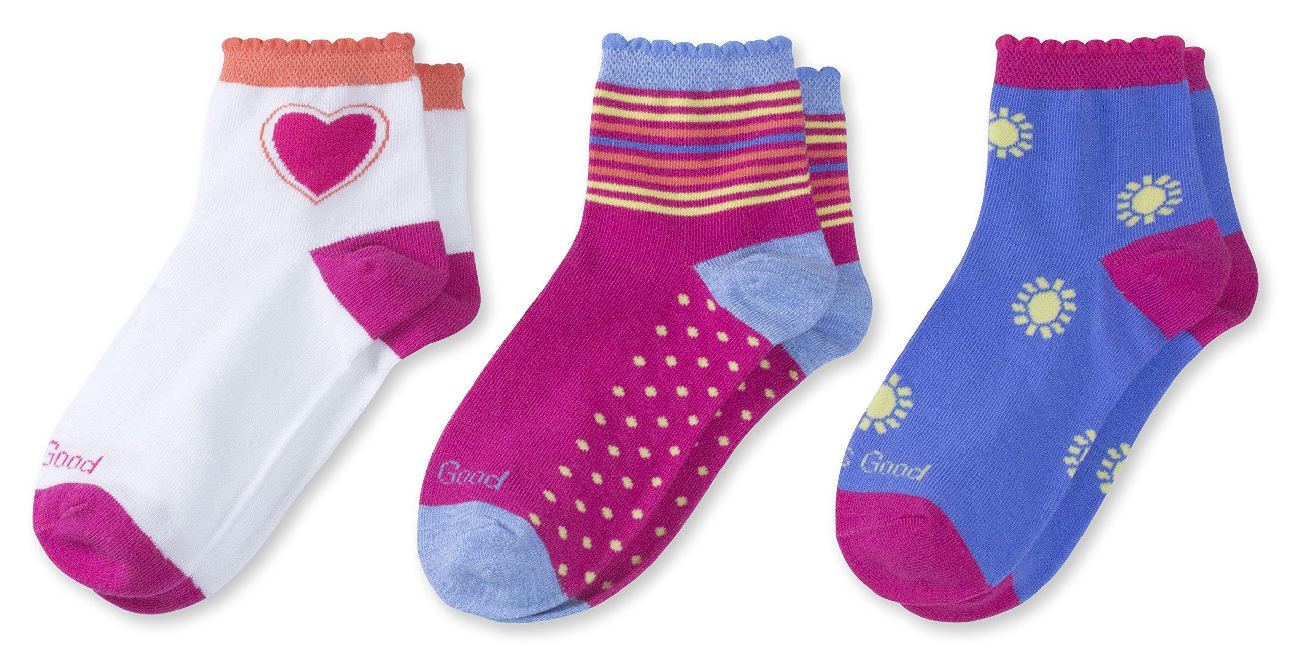 Life is Good Quarter Socks (Pack 3), Heart/Sunshine/Pink, Large (Fits Shoe Size 13-4)
