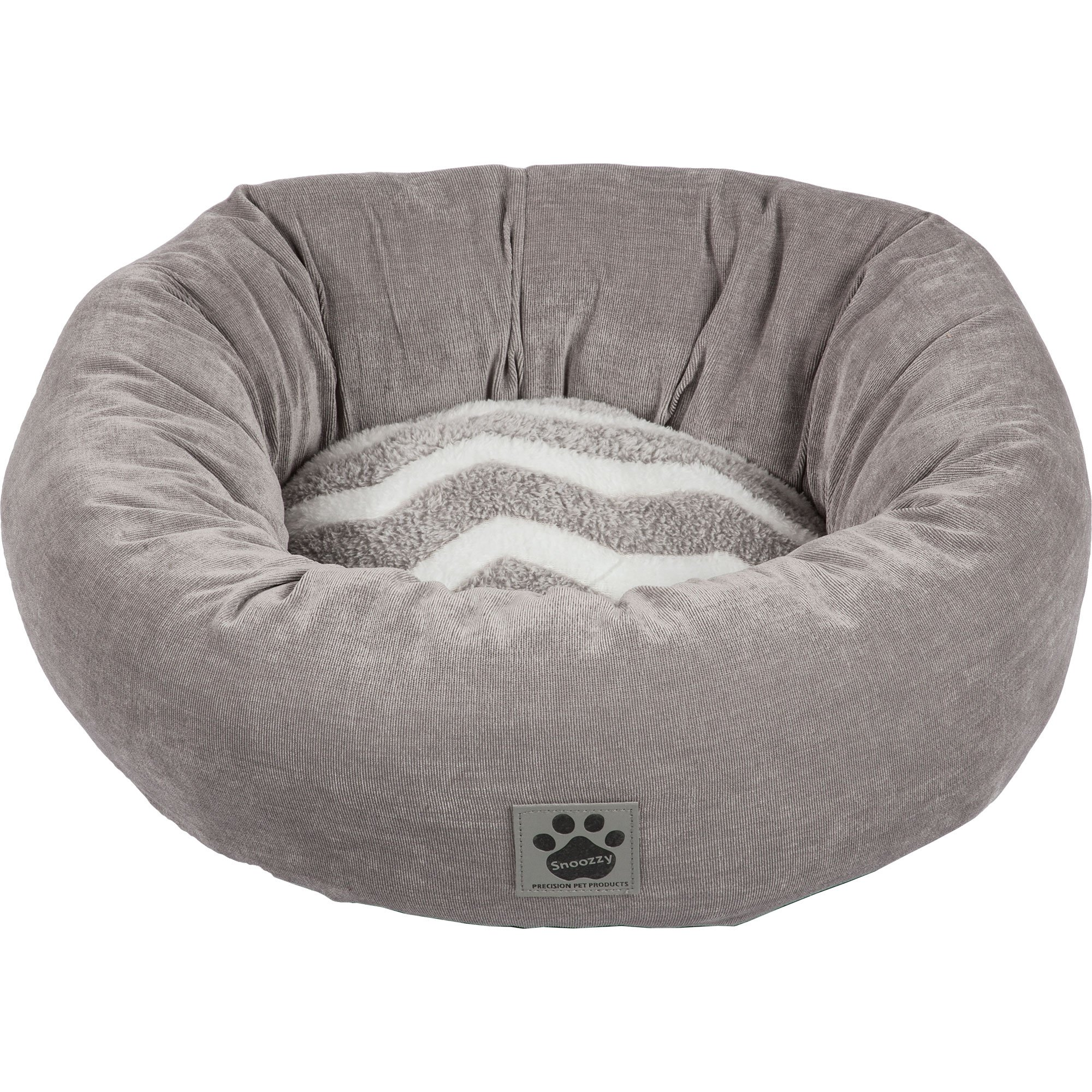 Precision Pet SnooZZy Hip as a Zig Zag Donut Bed, Gray and White