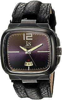 Joshua & Sons Mens Square Bezel Case Swiss Quartz Watch, Genuine Leather Leather Strap (