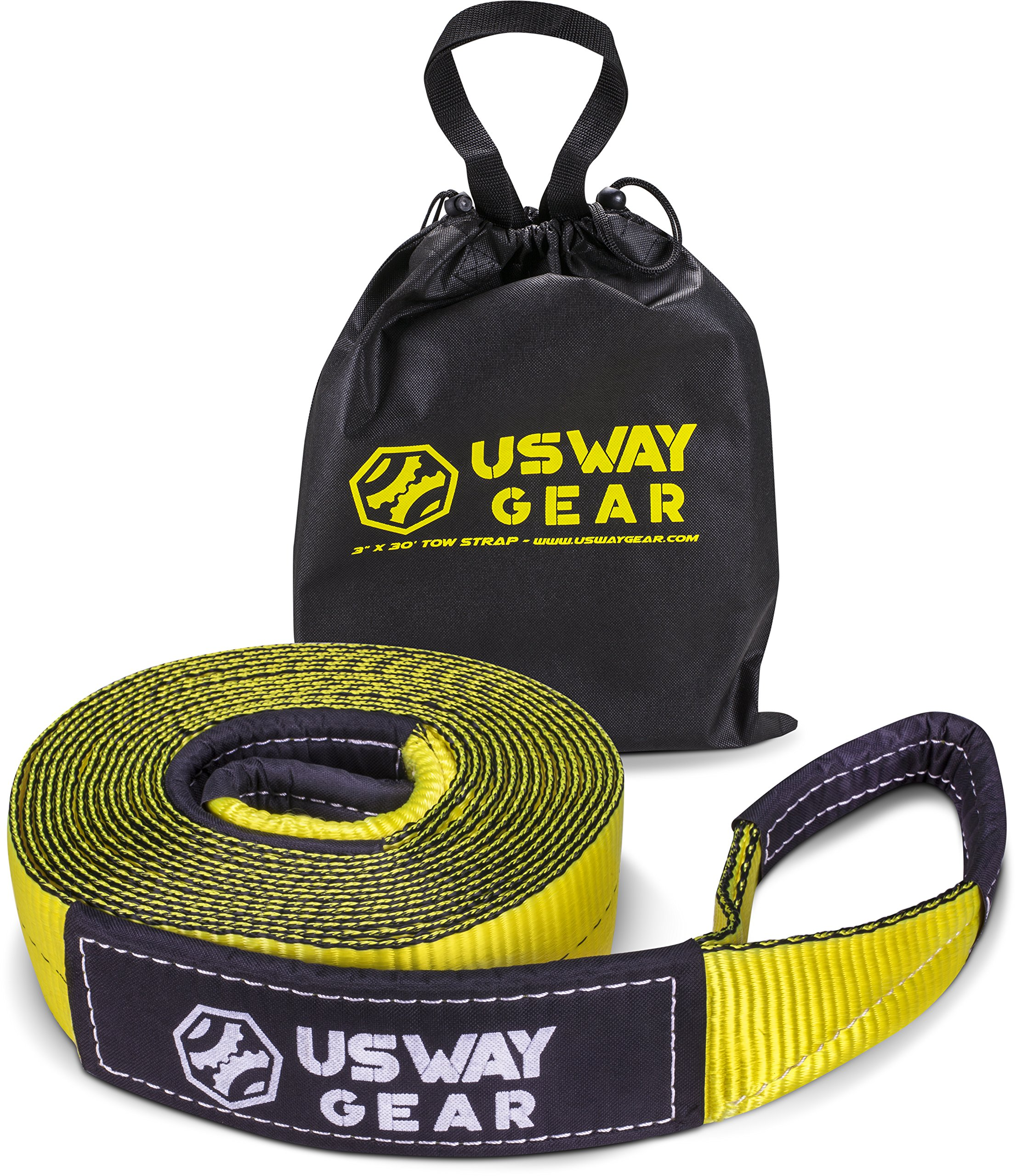 USWAY GEAR 3'' x 20' Tow Strap - 30.000 lbs (15 US TON) Rated Capacity Heavy Duty Vehicle Tow Strap with Reinforced Loops + Protective Sleeves + Storage Bag | Emergency Towing Rope for Recovery