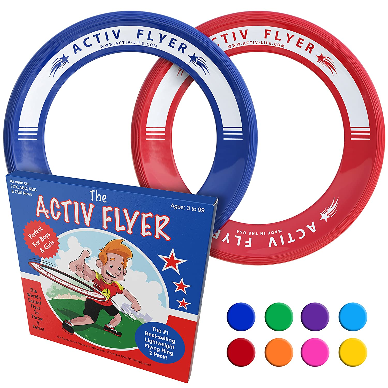 Activ Life Best Kid's Flying Rings [2 Pack] Fly Straight & Don't Hurt
