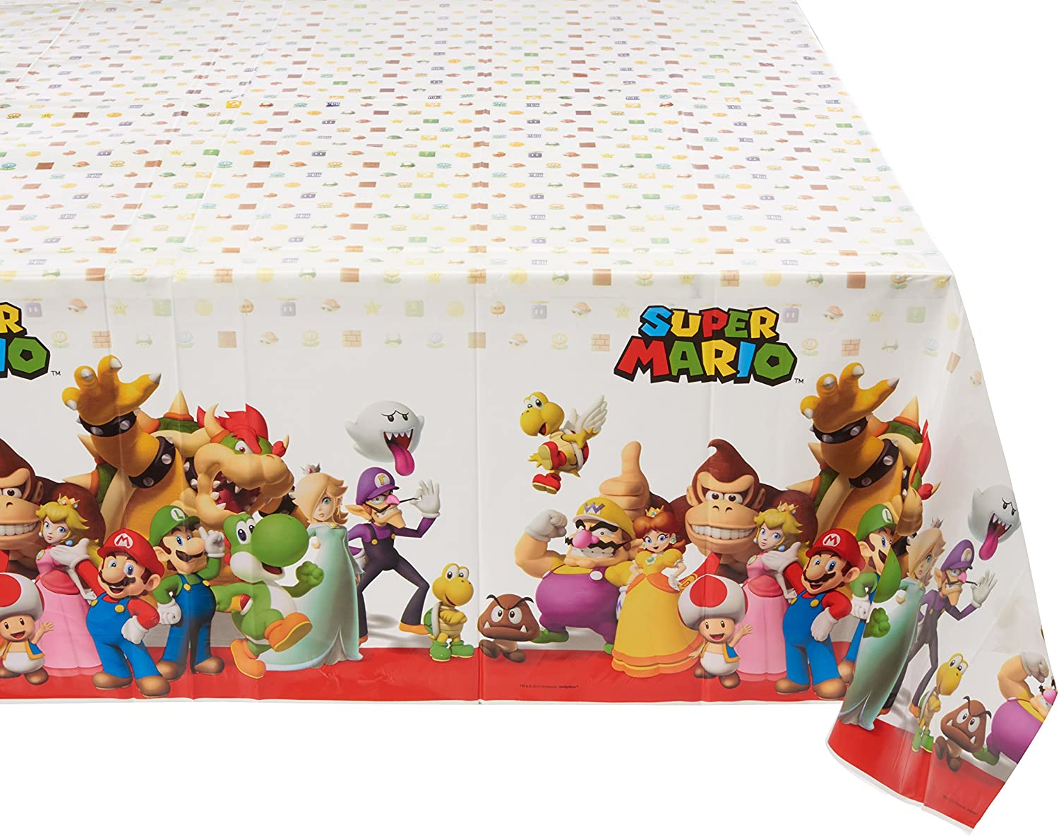 B0119EYRQ8 Super Mario Brothers Plastic Table Cover, Party Favor 91YNUScZDEL