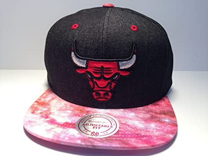 8efd045ddcb Image Unavailable. Image not available for. Color  Chicago Bulls NBA  Basketball Cap Red Pink Galaxy Print Mitchell   Ness Flat Bill Snapback Hat