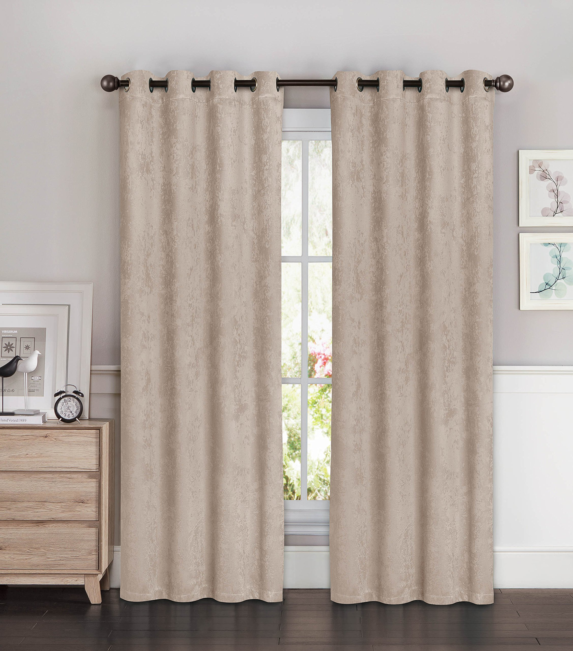Bella Luna Faux Suede Room Darkening Extra Wide 108 x 84 in. Grommet Curtain Panel Pair, Taupe - Pair includes (2) 54 in. x 84 in. curtain panels (total width coverage: 108 in.) Each lined extra-wide panel features (8) gunmetal-colored grommets Room-darkening thermal lining is energy saving, light blocking and noise reducing - living-room-soft-furnishings, living-room, draperies-curtains-shades - 91YNXsXM2JL -