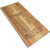 WE Games Classic Cribbage Set - Solid Wood Continuous 4 Track Board with Pegs