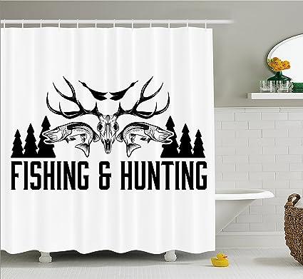 Ambesonne Hunting Decor Shower Curtain And Fishing Vintage Emblem Design Antler Horns Mallard Pine