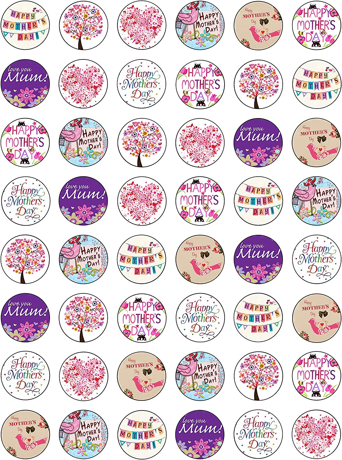 48 Edible Wafer Paper Gorgeous Happy Mothers Day Cake Toppers Decorations