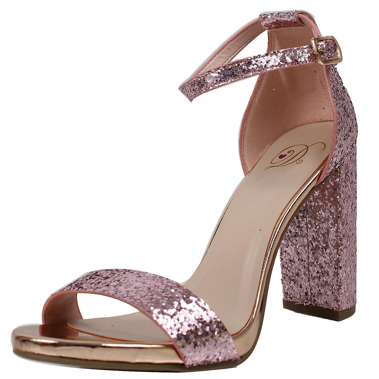 Delicious Womens Glitter Open Toe Ankle Strap Block Heel Sandal