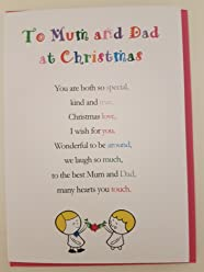 To Mum and Dad at Christmas - Cute Christmas Luxury Greetings Cards by Clarabelle Cards 5 x 7 inches