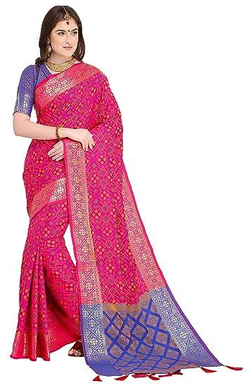 aa0d90f863 EthnicJunction Double Ikat Vibrant Patola Woven Art Silk Saree With  Unstitched Heavy Designer Woven Silk Blouse Piece (EJ1175-1005, Dark Pink):  Amazon.in: ...