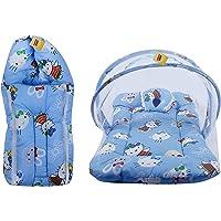 FARETO Baby Mattress with Mosquito Net & Sleeping Bag Combo 0-6 Months Teddy Print (0-6 Months, Blue)