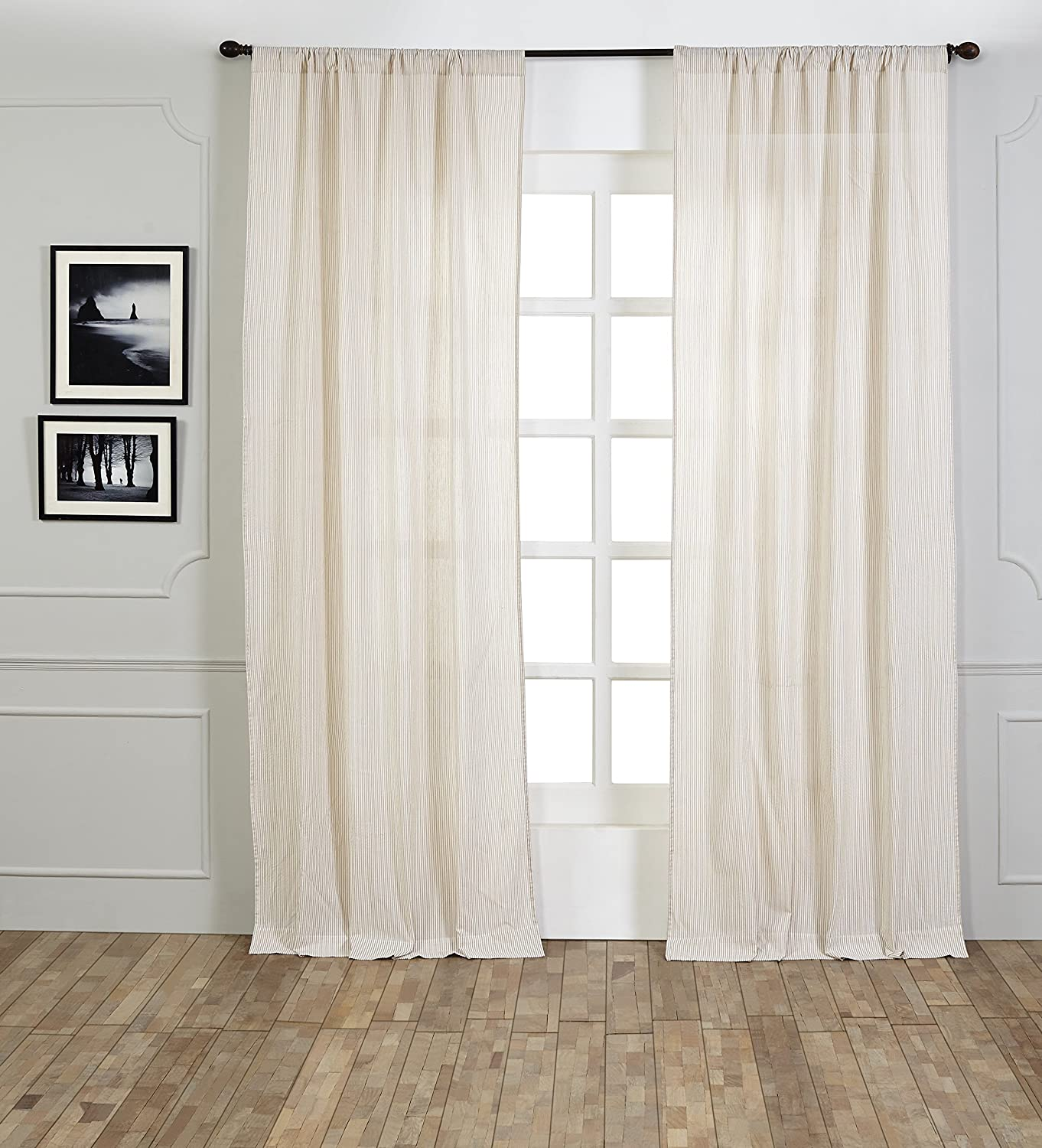 Be-You-tiful Home Seer Sucker Taupe Curtain Panel