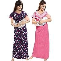 TUCUTE Women/Girls Beautiful Polka Dott's Print + Pink Baby Shades Print Feeding/Maternity/Nursing/Nighty/Night Gown/Night Dress/Nightwear (Free Size) Offer (Pack of 2) Smart Combo