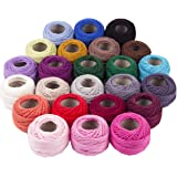 Crochet Thread 24 Colors for Beginners Embroidery Thread Balls 20g per Ball Cotton Yarn Crochet Thread Size 3